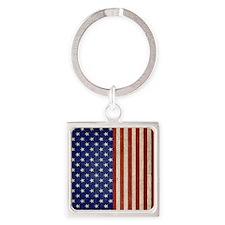 flip_flops_antique_american_flag Square Keychain