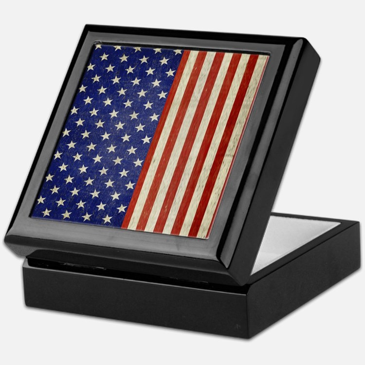 flip_flops_antique_american_flag Keepsake Box