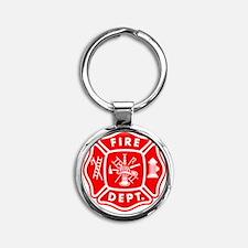 fire department crest pocket Round Keychain