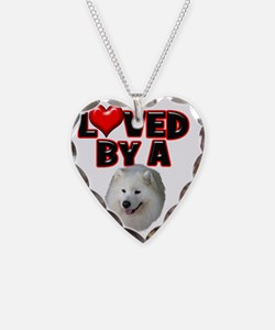 Loved by a Samoyed Necklace Heart Charm