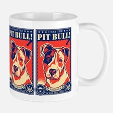 Obey the Pit Bull! USA propaganda Small Mugs