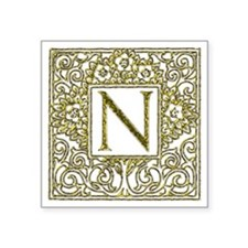 "Monogram N Square Sticker 3"" x 3"""