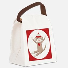 Sock Monkey Sticker Canvas Lunch Bag