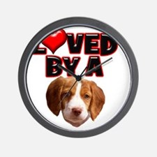 Loved by a Brittany Spaniel Wall Clock