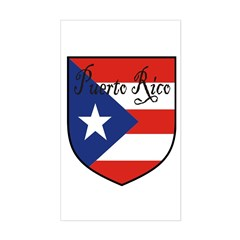 Puerto Rico Flag Shield Rectangle Decal
