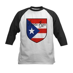 Puerto Rico Flag Shield Kids Baseball Jersey