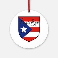 Puerto Rico Flag Shield Ornament (Round)