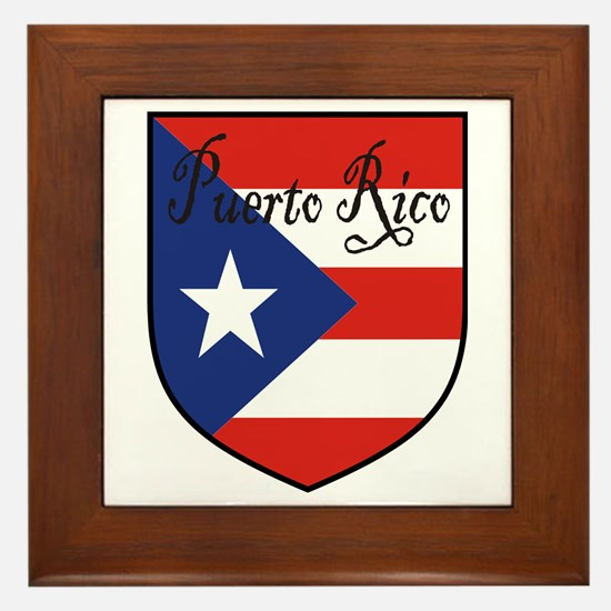 Puerto Rico Flag Shield Framed Tile