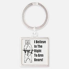 bear gunl Square Keychain