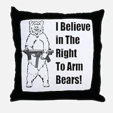 bear gunl Throw Pillow
