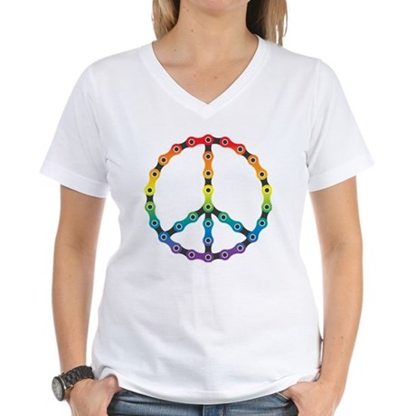 peace chain vivid Women's V-Neck T-Shirt