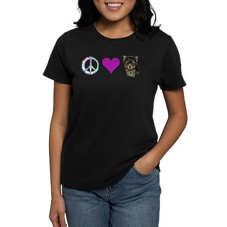 Women's Peace Love & Yorkie Dark T-Shirt