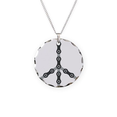 peace chain bw Necklace Circle Charm