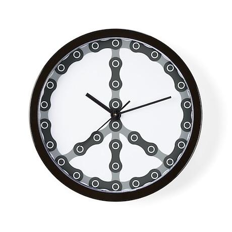 peace chain bw Wall Clock