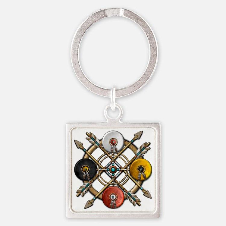 Medicine Wheel Mandala Square Keychain