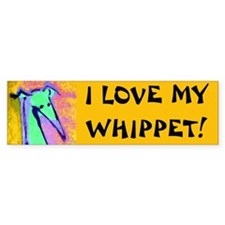 whippet love Bumper Car Sticker
