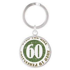 60th Birthday Over The Hill Round Keychain
