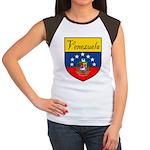 Venezuela Flag Crest Shield Women's Cap Sleeve T-S