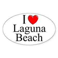 """I Love Laguna Beach"" Oval Decal"