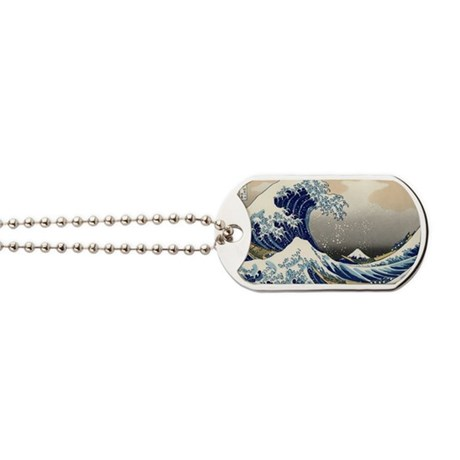 great_wave_laptop_skin Dog Tags