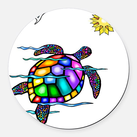 Sea Turtle 1 - with waves Round Car Magnet