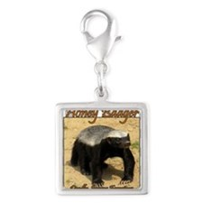 Honey Badger Silver Square Charm