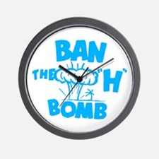 "Ban the ""H"" Bomb - Blue Wall Clock"