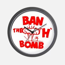 "Ban the ""H"" Bomb - Red Wall Clock"