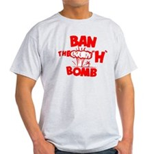 "Ban the ""H"" Bomb - Red Ash Grey T-Shirt"