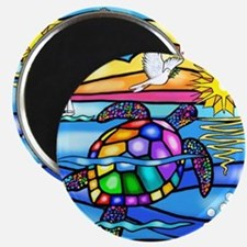 Sea Turtle 8 - square Magnet