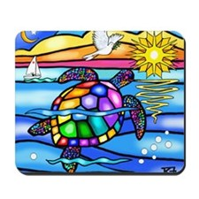 Sea Turtle 8 - square Mousepad