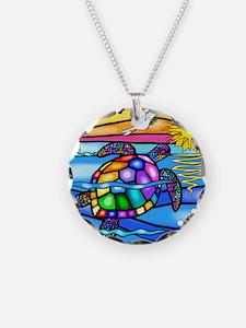Sea Turtle 8 - square Necklace