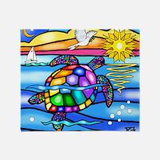 Sea Turtle 8 - square Throw Blanket