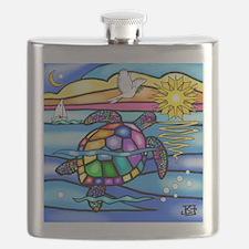 Sea Turtle 8 - square Flask