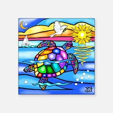 """Sea Turtle 8 - square Square Sticker 3"""" x 3"""""""