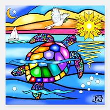 "Sea Turtle 8 - square Square Car Magnet 3"" x 3"""