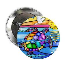 """Sea Turtle 8 - square 2.25"""" Button"""