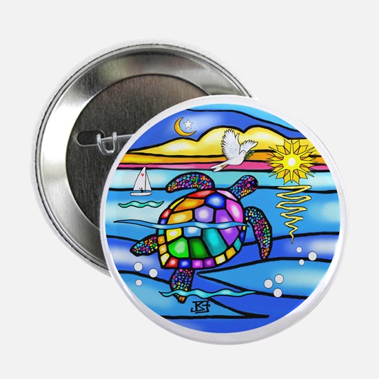 "SeaTurtle 8 - round 2.25"" Button"