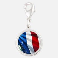 Statue of Liberty Silver Round Charm