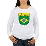 Brazil Flag Crest Shield Women's Long Sleeve T-Shi