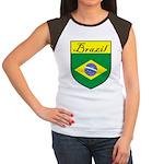 Brazil Flag Crest Shield Women's Cap Sleeve T-Shir