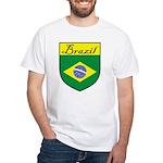 Brazil Flag Crest Shield White T-Shirt