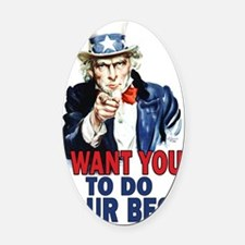 11x17_unclesam_doyourbest2 Oval Car Magnet