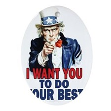 11x17_unclesam_doyourbest2 Oval Ornament