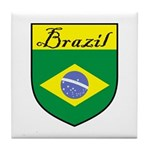 Brazil Flag Crest Shield Tile Coaster