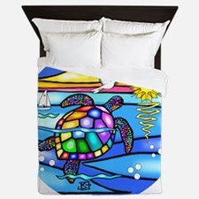 SeaTurtle 8 - round-BIG Queen Duvet