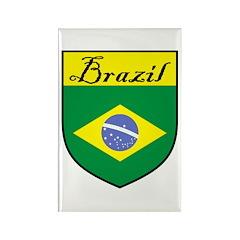 Brazil Flag Crest Shield Rectangle Magnet (10 pack