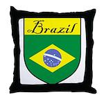 Brazil Flag Crest Shield Throw Pillow
