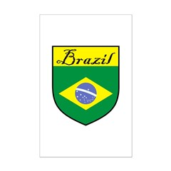 Brazil Flag Crest Shield Posters