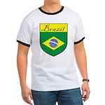 Brazil Flag Crest Shield Ringer T